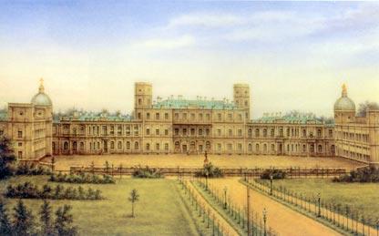Вид на Гатчинский дворец со стороны вокзала. Фарфоровый пласт. 1870-е   The Gatchina Palace. Painted porcelain (second half of 19th century)