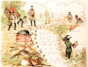 Отчет об охоте. 1871 год. Хромолитография с рисунка М.А. Зичи