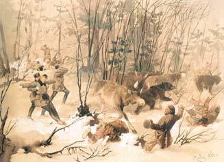 М. Зичи. Лоси и медведь, прорывающиеся сквозь цепь