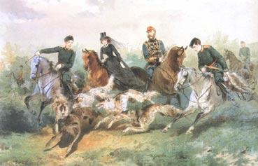 М. Зичи. Семья Александра II на псовой охоте